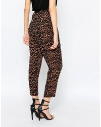 SELECTED - Multicolor Vanna Leopard Print Cropped Trouser - Lyst