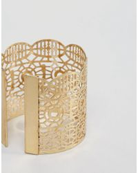 Ashiana - Metallic Shiana Cut Out Detail Chunky Cuff Bracelet - Lyst