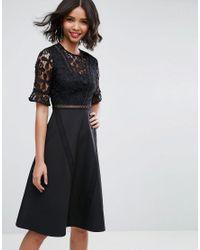ASOS - Black Asos Premium Lace Insert Midi Dress - Lyst