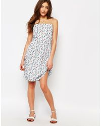 Sessun - White Sasa Strappy Dress In Blue Print - Lyst