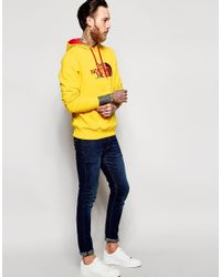 The North Face - Yellow Overhead Hoodie With Logo for Men - Lyst