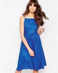ASOS Blue Midi Sundress With Full Skirt