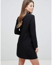 ASOS Black Tux Mini Dress With Gold Buttons
