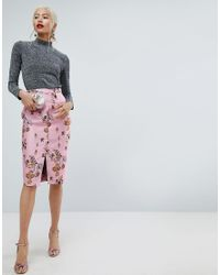 ASOS Multicolor Asos Floral Jacquard Pencil Skirt With Front Split