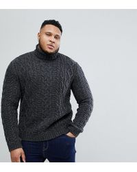c3024fa9665 ASOS Asos Plus Cable Knit Roll Neck Sweater In Washed Black in Black ...