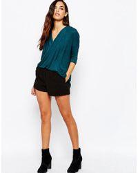 AX Paris - Green Cross Wrap Front Knit Top - Lyst