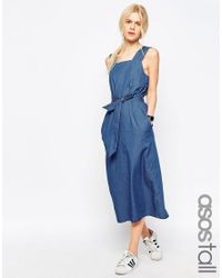 ASOS - Denim Belted Midi Dress In Mid-wash Blue - Lyst