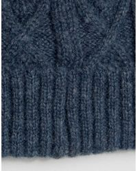 ASOS - Asos Fisherman Beanie In Blue Cable Knit for Men - Lyst