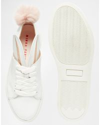 Minna Parikka Pink White Leather Bunny Ears & Faux Fur Tail Sneakers - White