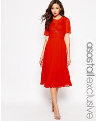 ASOS - Red Midi Skater Dress With Lace And Pleat - Lyst