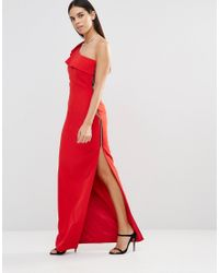 Forever Unique | Red Aiko One Shoulder Maxi Dress With Side Zip | Lyst