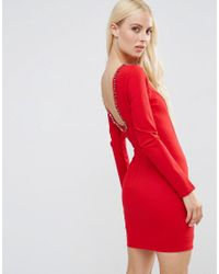 Forever Unique   Red Gwyneth Long Sleeve Scoop Back Mini Dress With Embelishment   Lyst