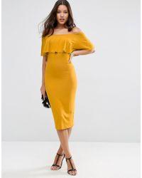 ASOS - Yellow Ruffle Off Shoulder Bardot Pencil Midi Dress - Multi - Lyst