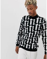 Pull col montant en maille avec motif noir et blanc ASOS pour homme en coloris Black