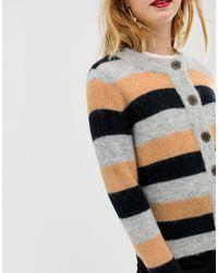 Femme - Cardigan en maille à rayures - colore SELECTED en coloris Multicolor