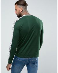 Fred Perry Slim Fit Sports Authentic Taped Long Sleeve T-shirt In Ivy Green for men