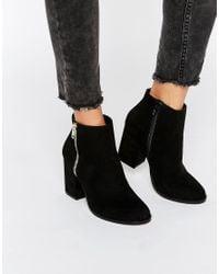 Faith - Black Belinda Zip Heeled Ankle Boots - Lyst
