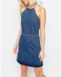 ASOS - Denim Mini Halter Neck Dress With Scallop Edge In Mid Wash Blue - Lyst
