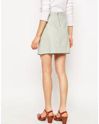 ASOS - Blue A-line Linen Skirt With Pocket Detail - Lyst
