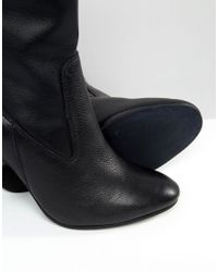 Faith Black Sock Calf Heeled Boots