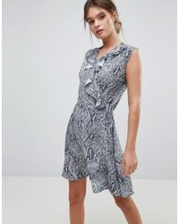 Liquorish Blue Sleeveless Wrap Dres With Frill Neckline In Snakeskin Print