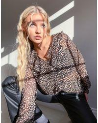 Блузка С Оборками И Леопардовым Принтом -черный New Look, цвет: Black