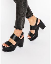 ASOS | Total Chunky Platform Sandals - Black | Lyst