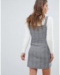 Bershka - Gray Button Front Check Mini Dress - Lyst
