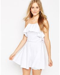 ASOS - White Ruffle Mini Skater Dress - Lyst