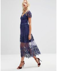 ASOS   Blue Embroidered Mesh And Lace Midi Dress   Lyst