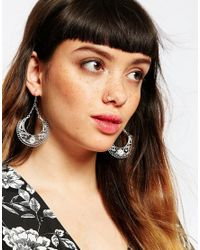 ASOS - Metallic Sterling Silver Rose Gold Plated Fine Through Earrings - Lyst