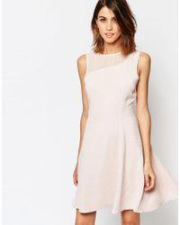 Reiss Pink Verde Drop Waist Dress With Sheer Insert