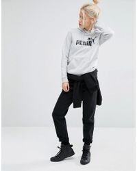 PUMA - Gray Pullover Hoodie With Classic Logo - Lyst