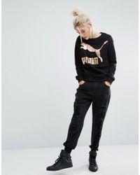 PUMA Black Sweatshirt With Gold Logo