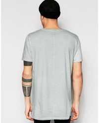 ASOS - Gray Super Longline T-shirt With Oil Wash And Grin Stitch for Men - Lyst