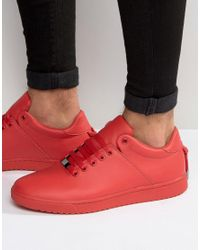 ASOS Sneakers In Red With Back Lace And Gold Details - Red for men