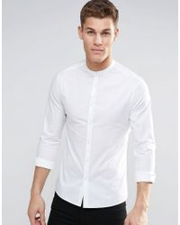 ASOS   Skinny Shirt With Grandad Collar And Long Sleeves In White for Men   Lyst