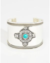 ASOS - Green Decorated Stone Cuff Bracelet - Lyst