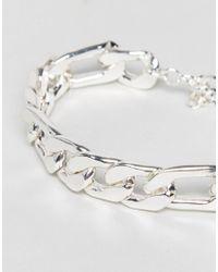ASOS - Metallic Heavyweight Chain Bracelet In Silver for Men - Lyst