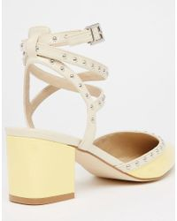ASOS - Yellow Sponsor Stud Detail Pointed Heels - Lyst