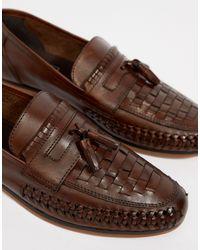 Светло-коричневые Кожаные Лоферы Для Широкой Стопы ASOS для него, цвет: Brown