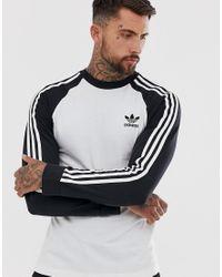 Adidas Originals White 3 Stripe Long Sleeve T-shirt for men