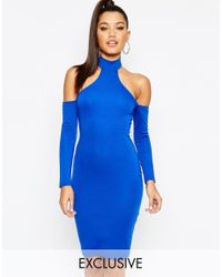 Naanaa Blue Midi Dress With Cut In Shoulder And Lace Up Back