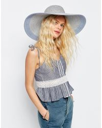ASOS - Blue Straw Oversized Metallic Silver Floppy Hat With Colour Block Brim - Lyst