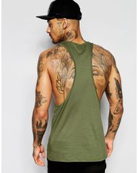 ASOS - Green Vest With Extreme Racer Back In Khaki for Men - Lyst