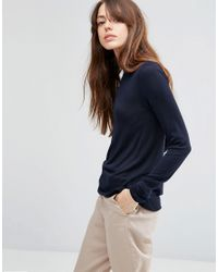 ASOS | Blue Jumper With Crew Neck In Soft Yarn | Lyst