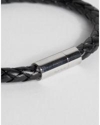 Paul Smith   Woven Leather Plaited Bracelet In Black for Men   Lyst