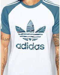 Adidas Originals - Blue Shattered Stripe Logo T-shirt In White Az3263 - White for Men - Lyst