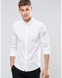 ASOS - Skinny Shirt In White With Button Down Collar And Long Sleeves for Men - Lyst