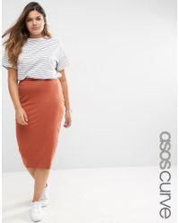 ASOS Orange Midi Pencil Skirt In Jersey - Ginger